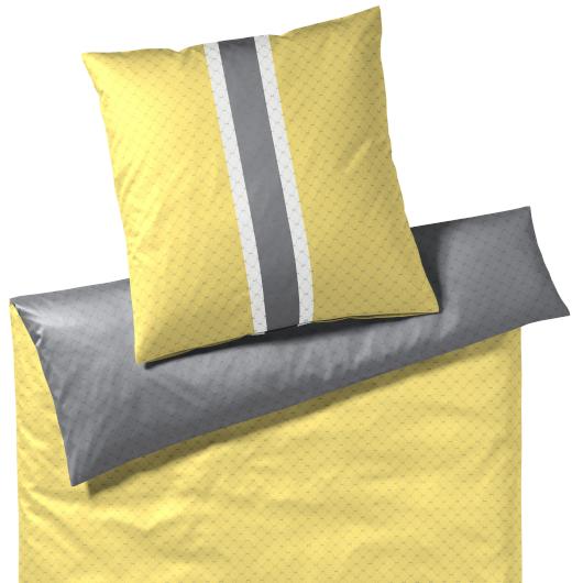 JOOP! Signature kétoldalas sárga és szürke mintás ágyneműhuzat